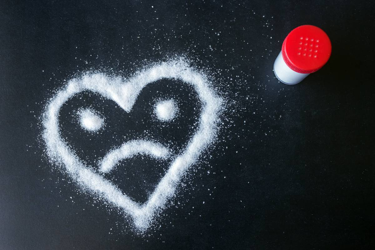 sad heart made from sugar which causes heart problems.